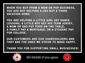 I saw this on my brother's FB and had to share it!!  Thank you from the bottom of our small business hearts!!